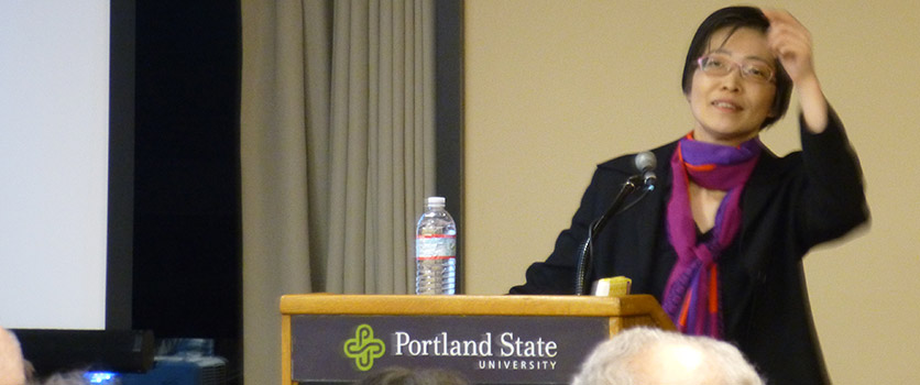 Professor Hikari Hori gives a lecture on Japanese visual culture at Portland State University.